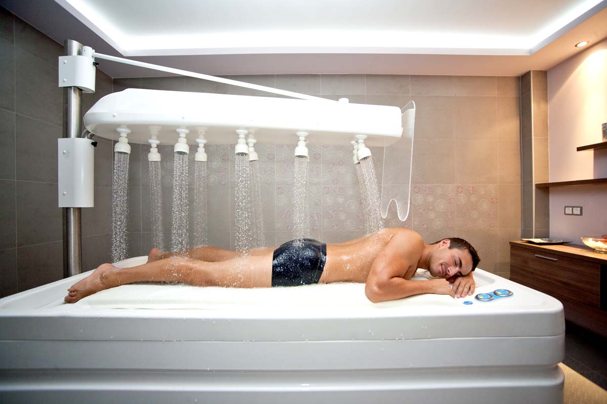 Treatment with the Vichy shower simulates the feeling of floating on water, which many people find relaxing